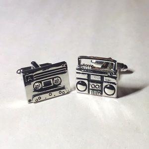 Cassette tape & boombox cufflinks